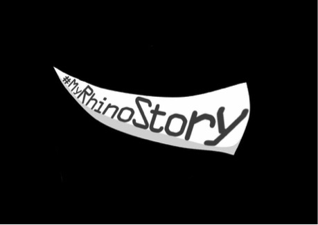 The #MyRhinoStory logo, developed by Peter